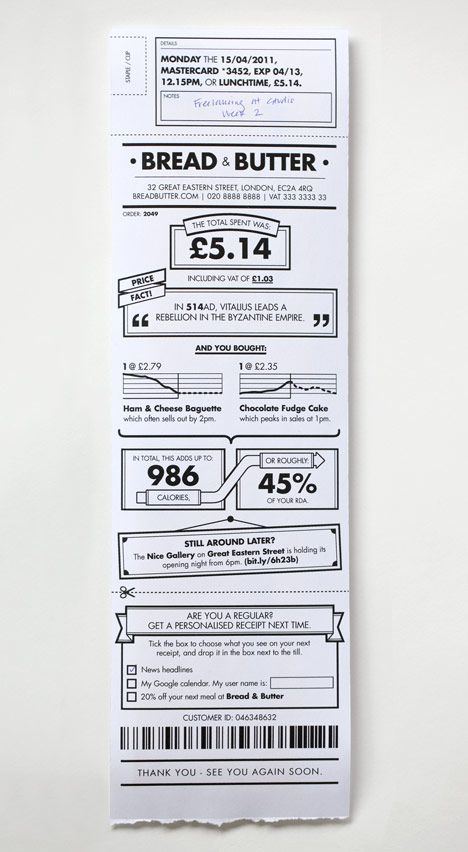 Cool receipt design by BERG too cluttered to be practical but – Receipt Design