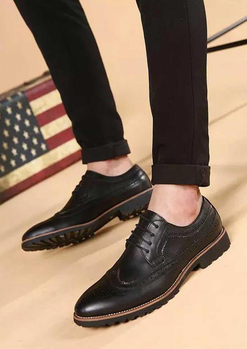 Men S Black Leather Derby Dressshoes Retro Brogue Design Casual Leisure Work Office Business Occa Mens Black Dress Shoes Dress Shoes Men Mens Smart Shoes