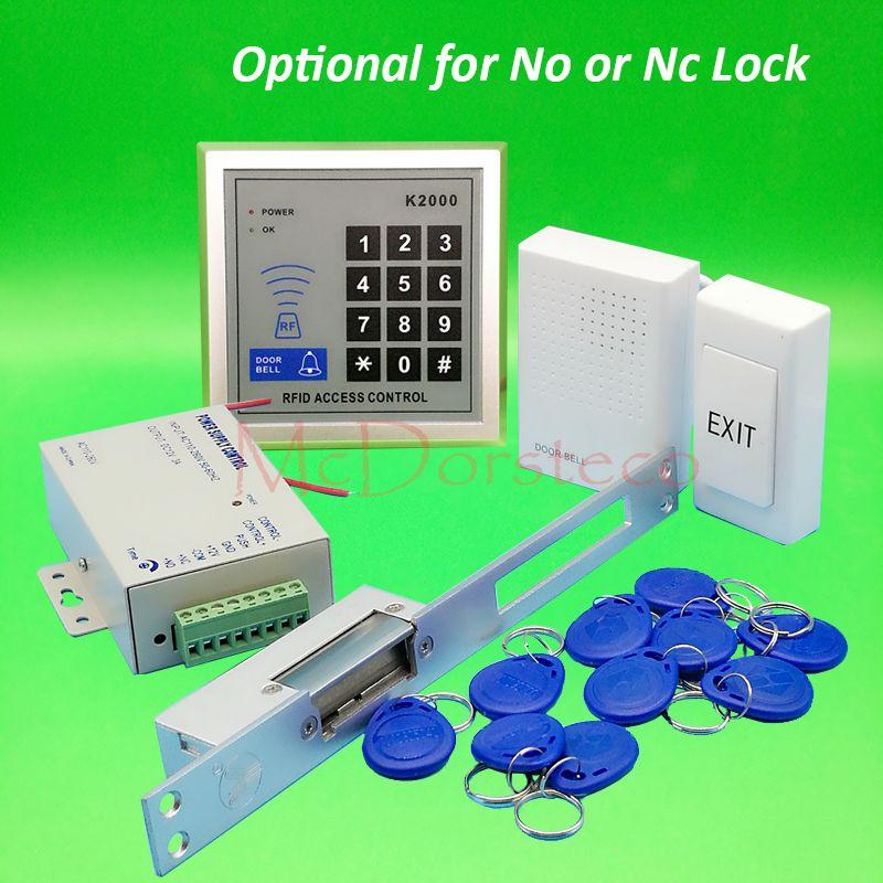 Diy 125khz Rfid Door Access Control Kit Set With Long Type Electric Strike Lock 10 Rfid Keyfob Card Full Access Cont Access Control Access Control System Rfid