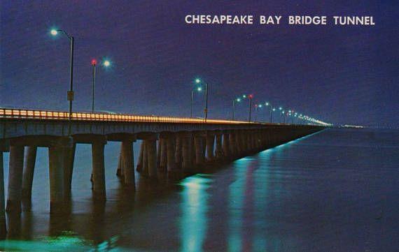 Vintage Chesapeake Bay Bridge Tunnel Postcard Norfolk Etsy Chesapeake Bay Bridge Chesapeake Bay Bay Bridge
