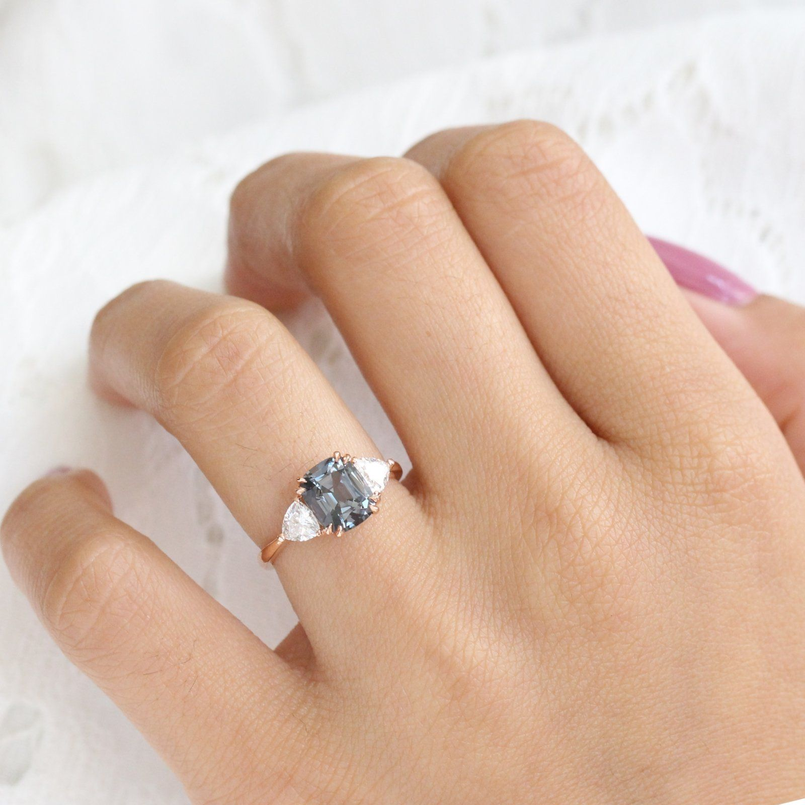 Large Grey Spinel Engagement Ring in 14k Rose Gold 3 Stone