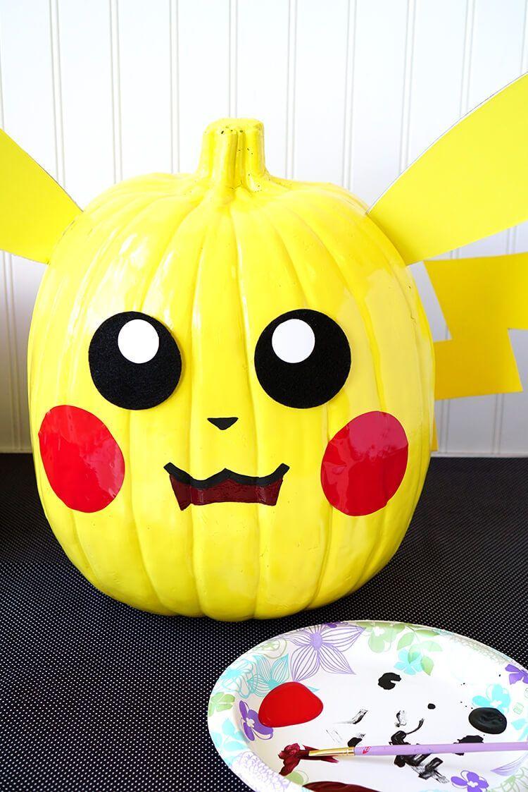 Fun And Easy Pumpkin Painting Designs No Carving Needed Pokemon Pumpkin Character Pumpkins Book Character Pumpkins