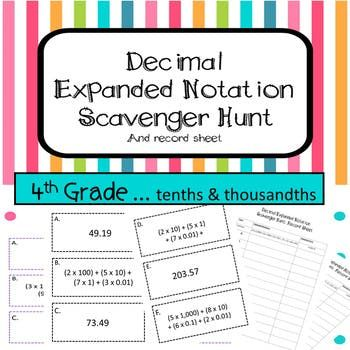 Expanded Notation with Decimals Scavenger Hunt TEKS 4.2B | Early ...