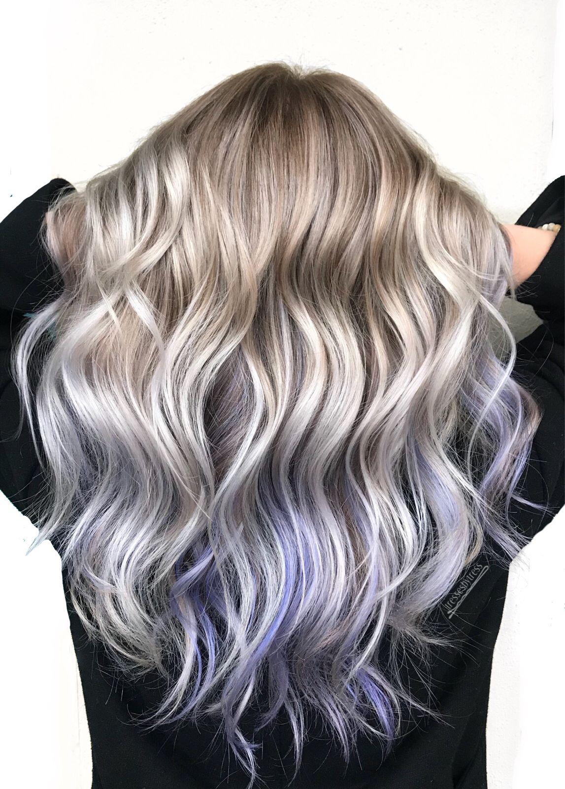 platinum white blonde purple lavender balayage | hair goals
