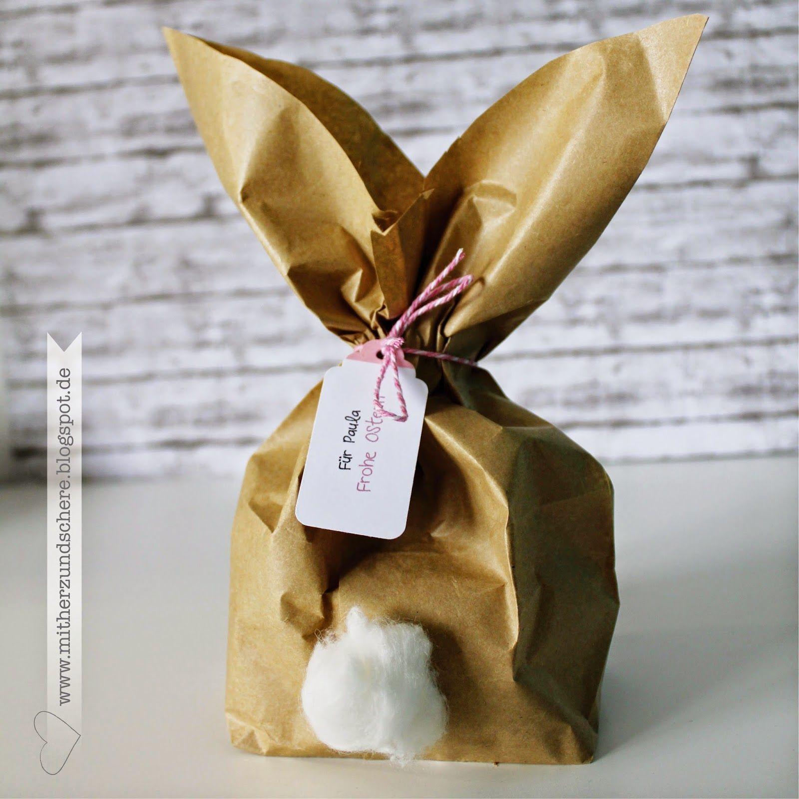 Kleine Nette Geschenke ~ Osterhase verpackung easterbunny packing papiertüte