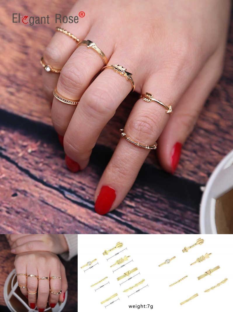 Visit to Buy] 7PC/Set Fashion Gold Color Ring Set for Girl Punk Boho ...