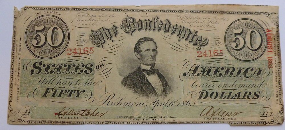 1863 The Confederate States of America - $50 Note
