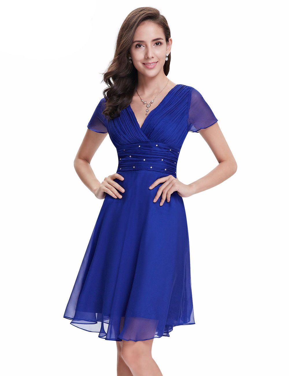 ever pretty short sleeve v neck ruched bust chiffon party dress