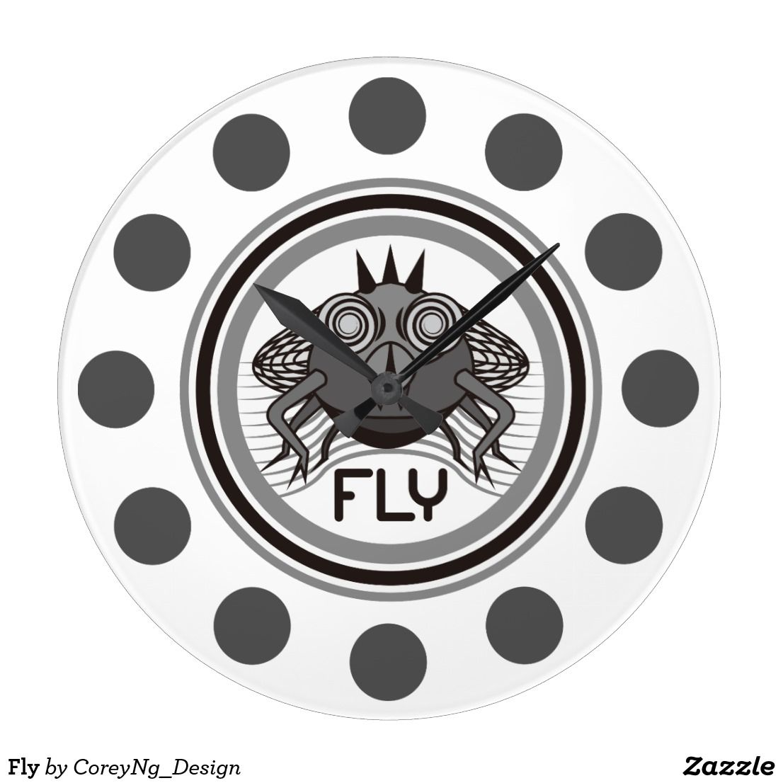 fly clock graphicdesign zazzle blackandwhite fly