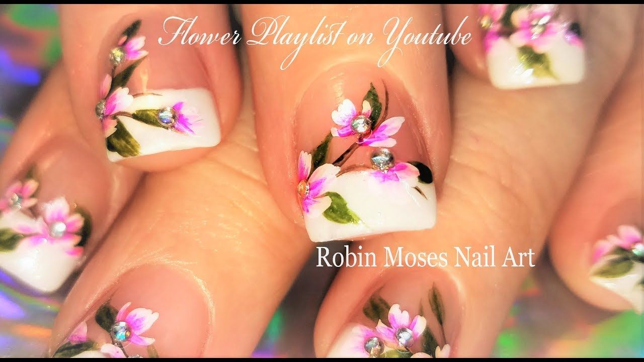 Pink Flowers On French Tip Nails Romantic Floral Nailart
