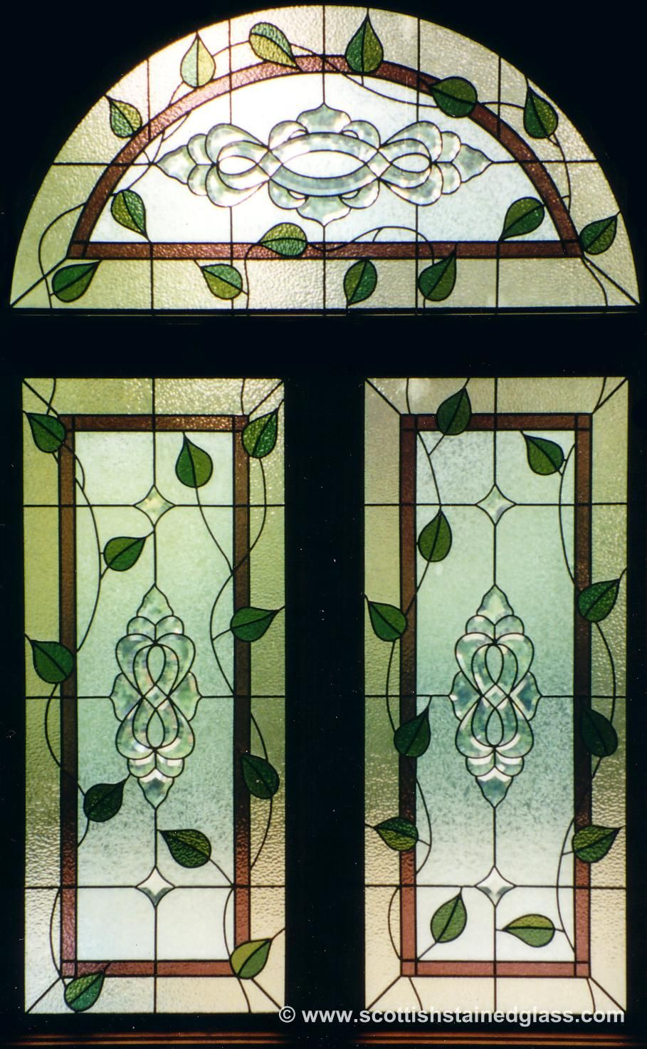 Nature Leaded Glass Arch Window