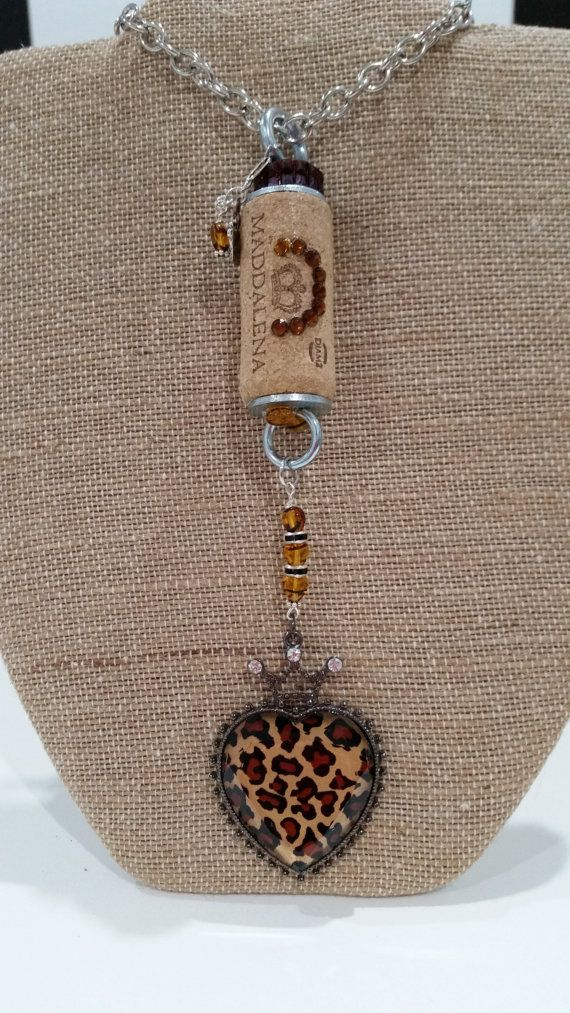 Unique one of a kind wine cork necklace with by WineCorkRagTime on Etsy $26.50