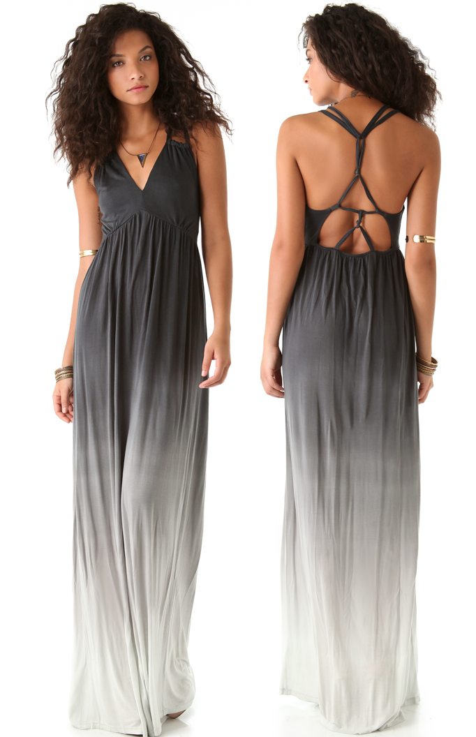 White and gray maxi dress