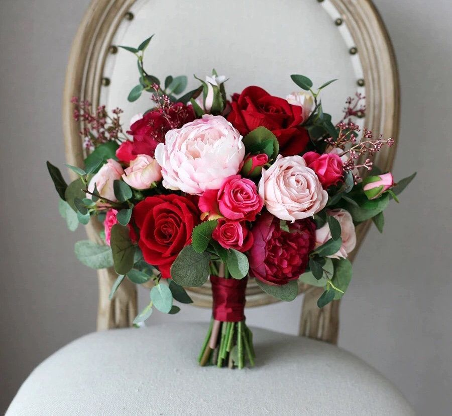 Burgundy & Blush Bridal Bouquet, Pink Wedding Bouquet, Peonies, Eucalyptus Bride, Bridesmaids, Silk Flowers, Artificial Faux, Roses