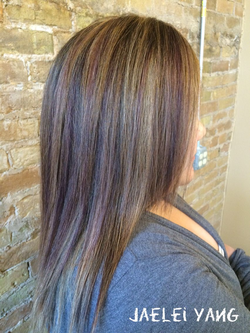 Highlights On Asian Hair Blonde Violet Highlight Lowlight By