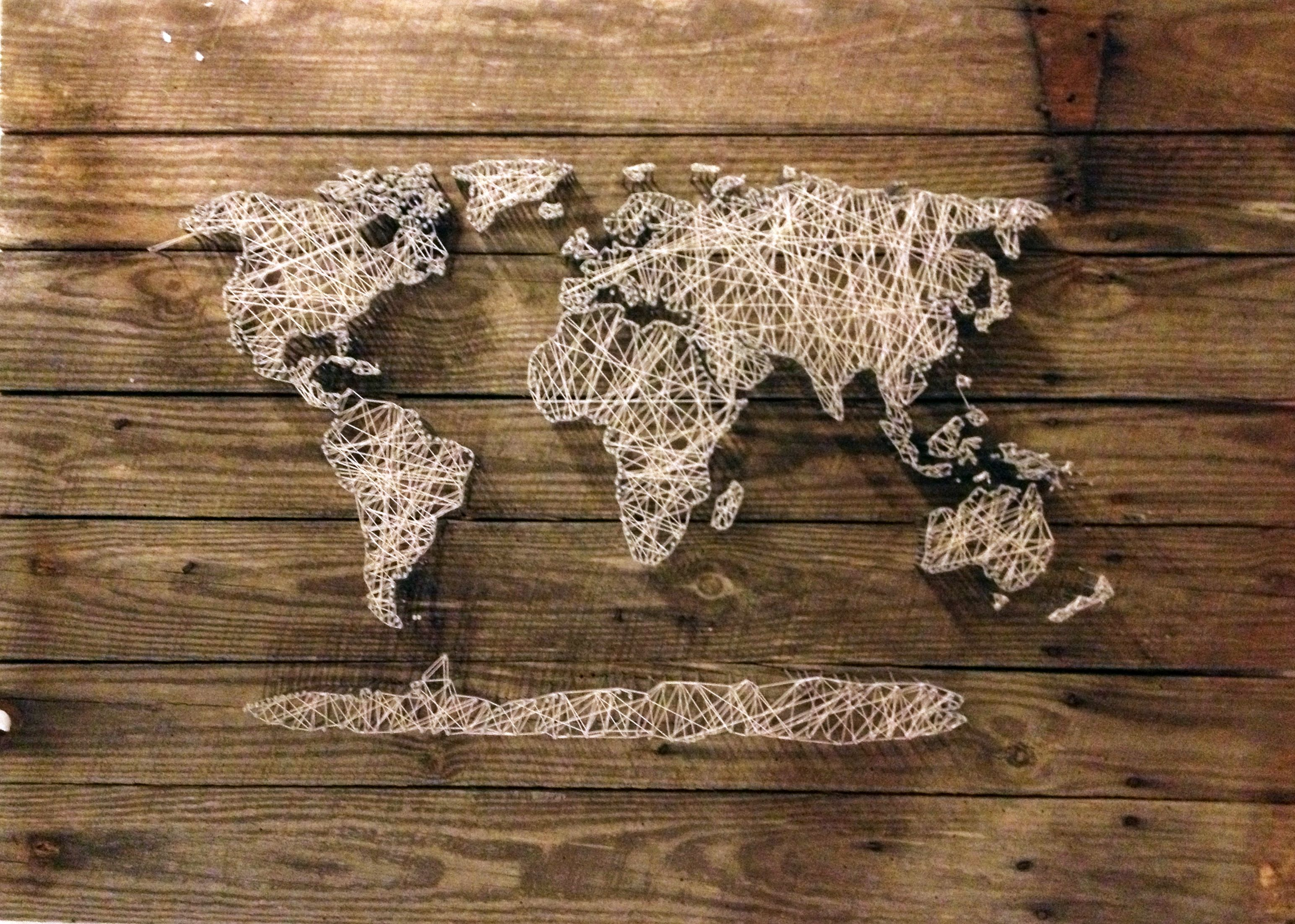 World map string art string art craft and crafty dead link just like the idea gumiabroncs Choice Image