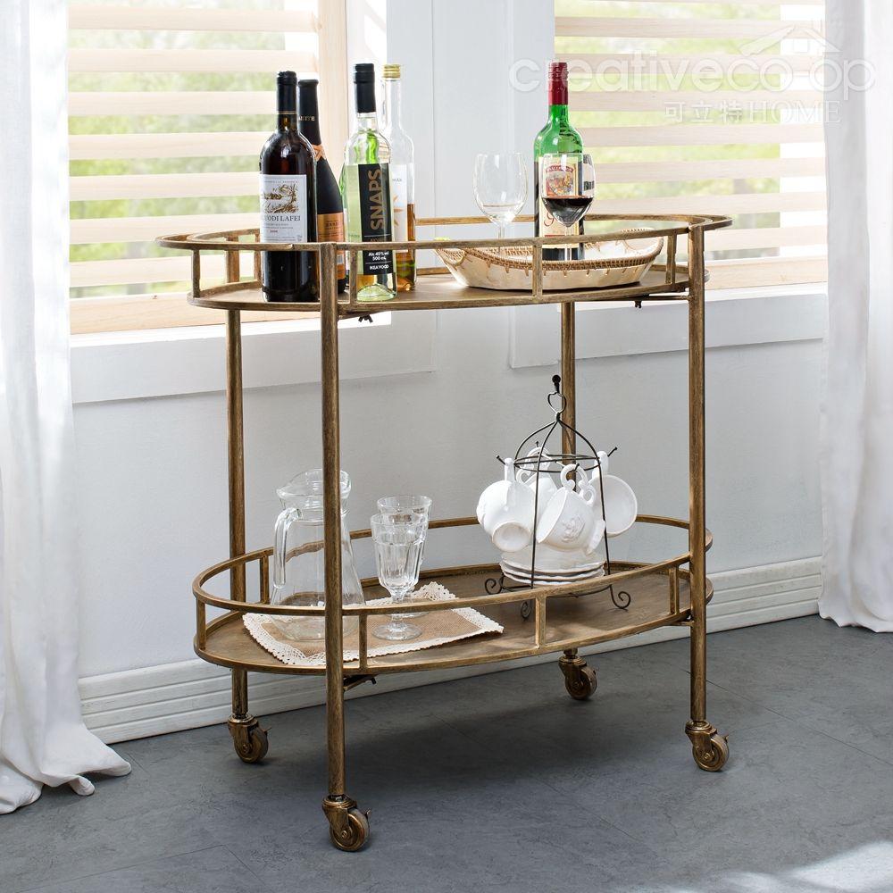 Kitchen Island Trolleys Gold Metal 2 Tier Bar Cart Creative Co Op Home