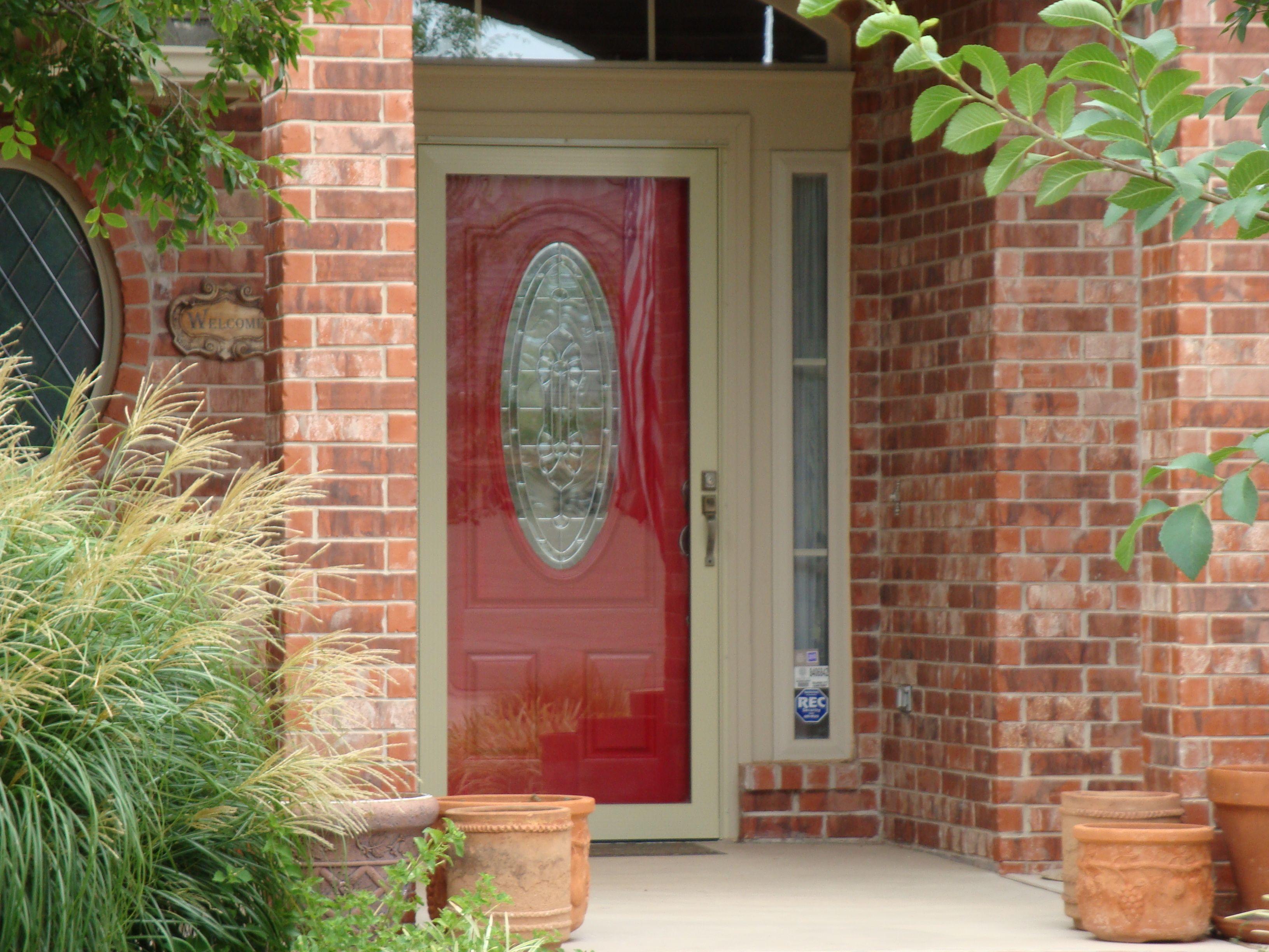 Loving A Red Front Door Better With Light Colored Storm Door Storm Door Red Front Door Home Depot Storm Doors
