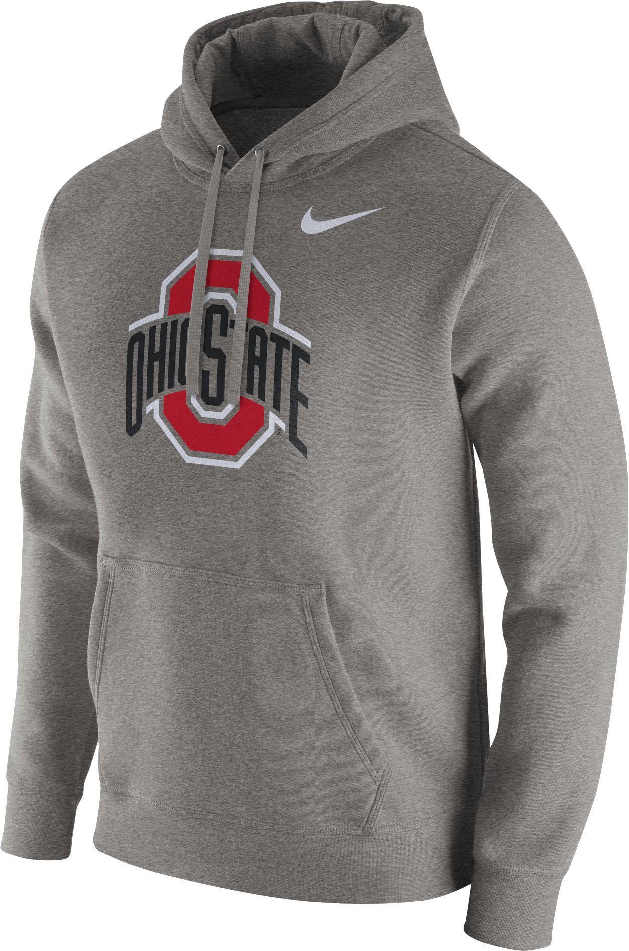 Nike Men s Ohio State Buckeyes Gray Club Fleece Hoodie 59efc3471