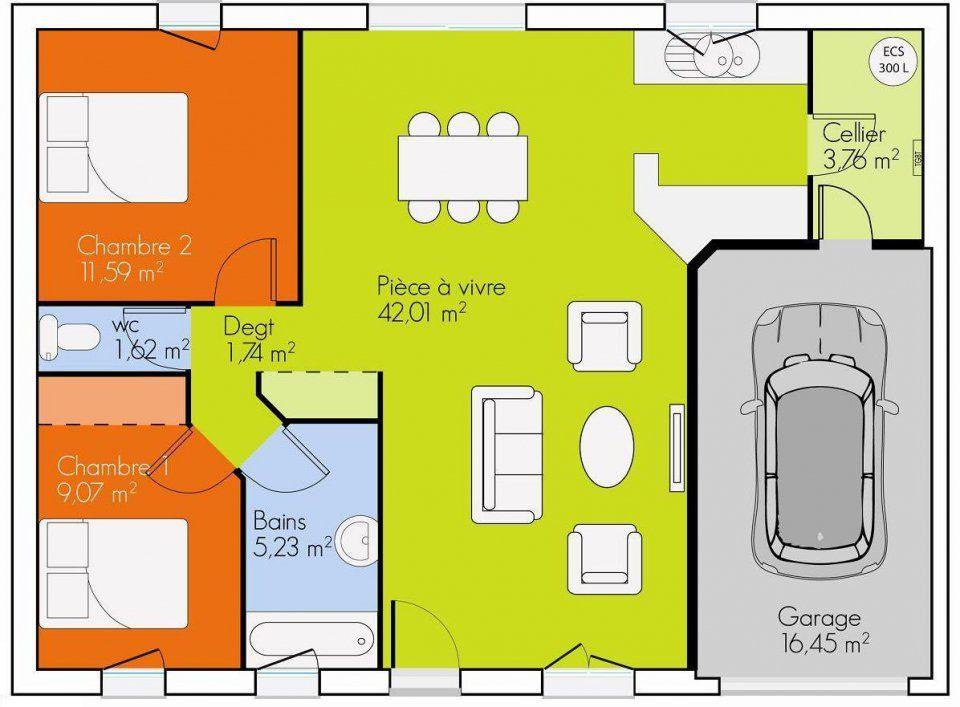 Maison plain pied 2 chambres plan maison pinterest for Plan maison 200m2 plein pied