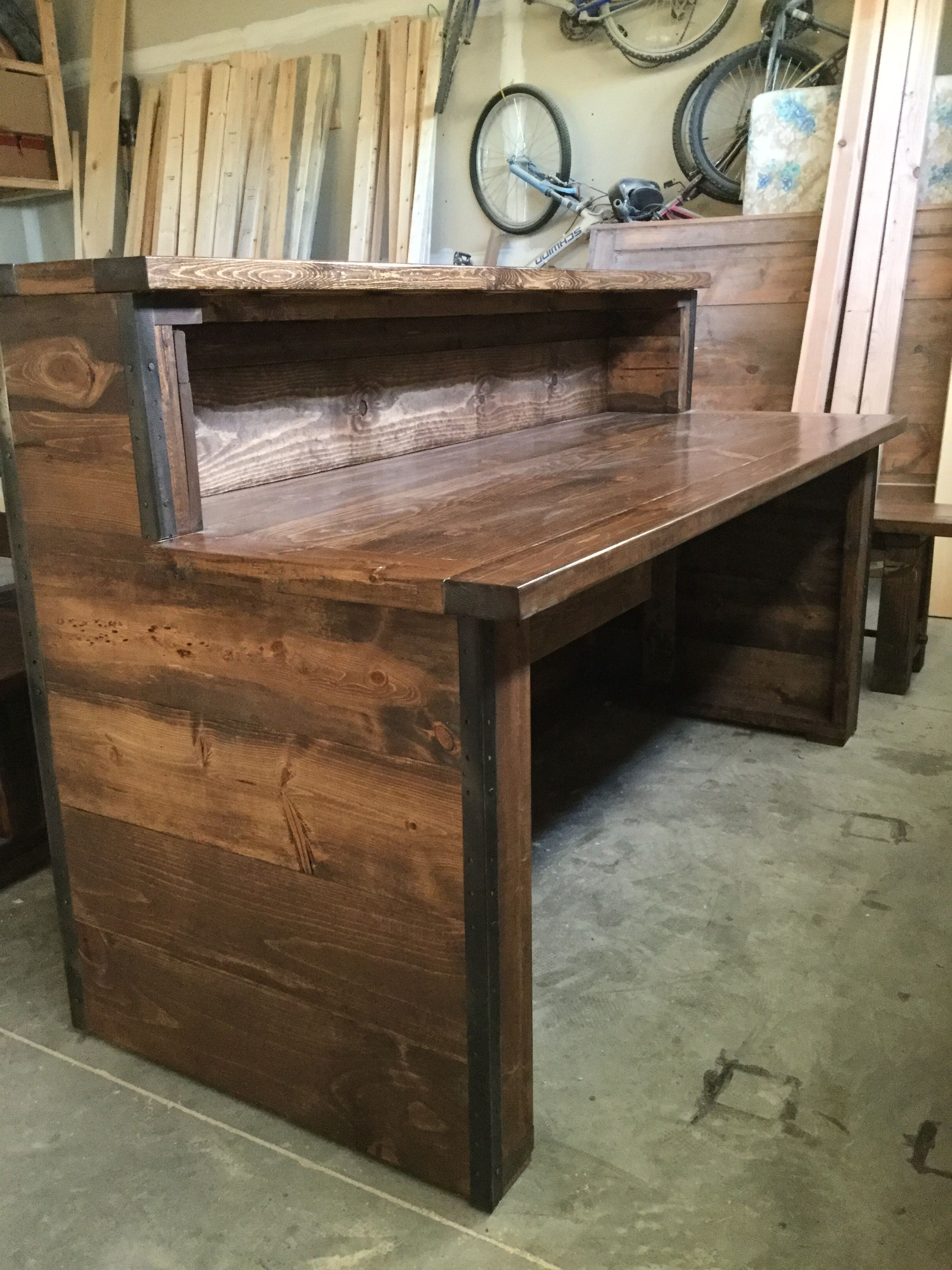 Rustic industrial reception desk with two tiers frazer for Industrial rustic design furniture