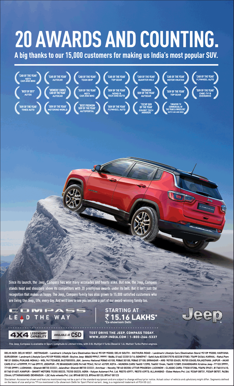 Jeep Compass Lead The Way 20 Awards And Counting A Big Thanks To Customers Ad Jeep Compass Car Advertising Car Ads