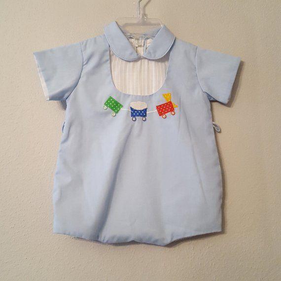 f9fb96095 Vintage Baby Boys Blue Romper Bubble Suit with Train Cars- Size 9 ...