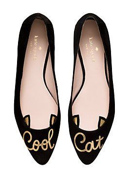 these suede, pointy-toed flats are very plain--aside, of course, from the declaration written in metallic cursive script across the top. wear them whenever you feel like making a statement.