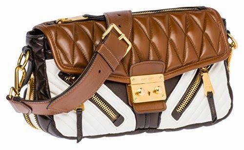f5c24e745c71 Miu Miu Nappa Biker Shoulder Bag in Brown White Matelassé Leather Purse  Handbag RR1903 F0QEW