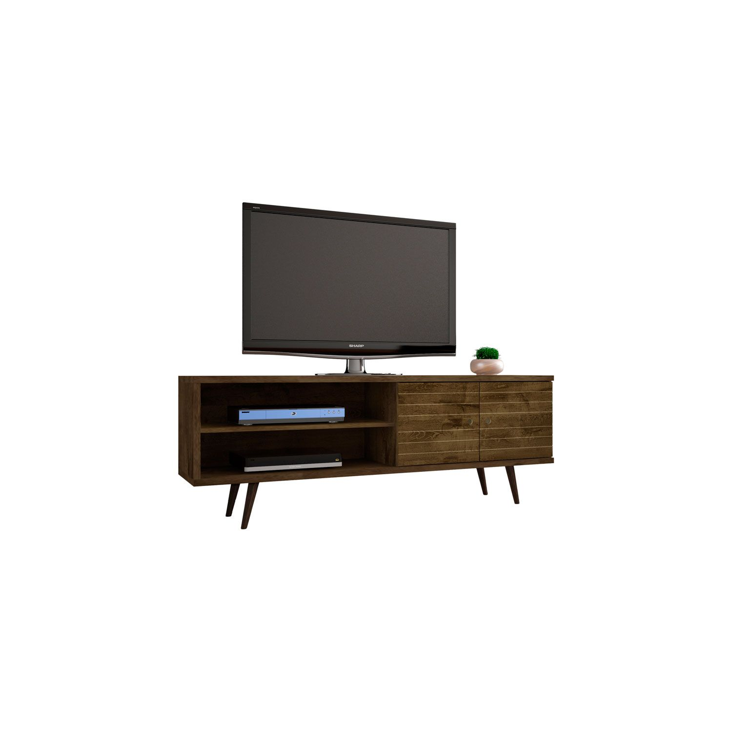 Manhattan Comfort Liberty 63 Inch Tv Stand With 3 Shelves And 2 Doors In Rustic Brown With So Mid Century Modern Tv Stand Modern Tv Stand Modern Tv Stand White