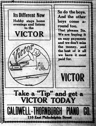 """~ The Whittier News, Whittier, California; March 22, 1911  via Whittier Public Library Digital Archives """"It's Different Now. Hubby stays home evenings and listens to the VICTOR."""""""