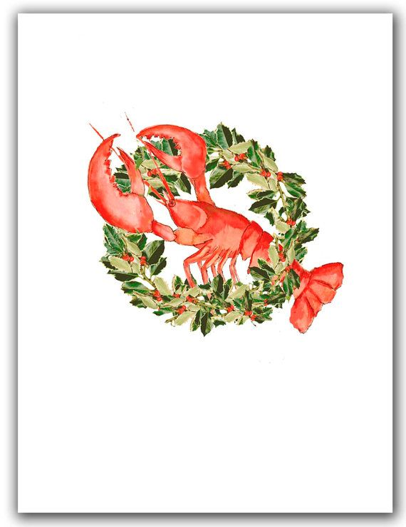 Lobster in wreath Christmas cards. set of 10. boxed by ShirleyBell