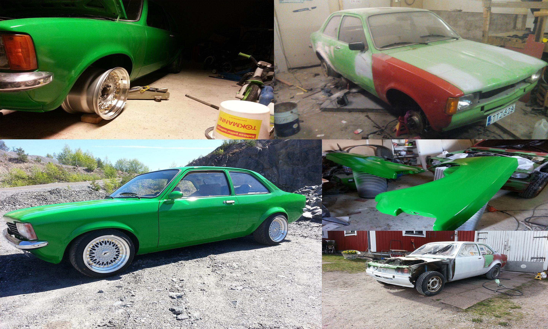 Christian päätti kokeilla auton maalaamista ensimmäistä kertaa. Kokeilun kohteeksi pääsi Kadett. Pintaväriksi Christian laittoi Mipan akryylivärin ja pohjalle Trotonin hiomavärin. Hieno suoritus!