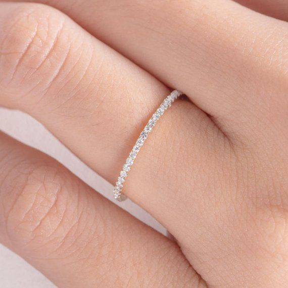 Photo of Diamond Wedding Band Women Rose Gold Eternity Band Stacking Bridal  Diamond Thin Micro Dainty Simple Everyday Minimalist White Gold 1pc