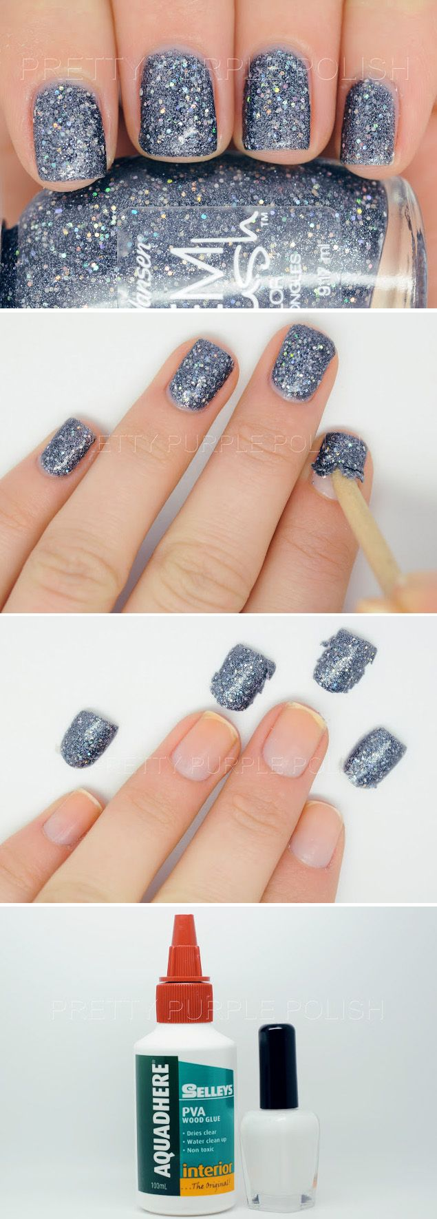 I love glitter nail polish but it is such a pain to remove. Solution ...