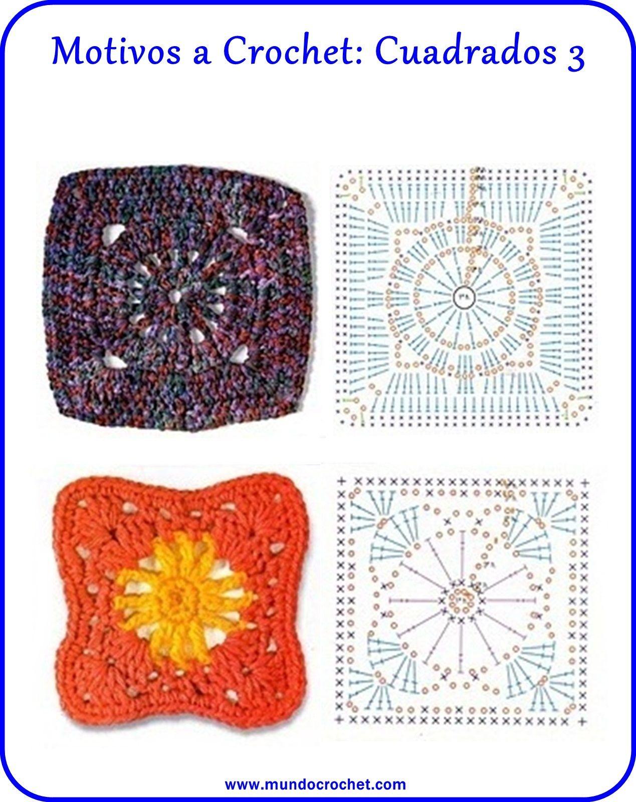 motivos cuadrados crochet | Crochet | Pinterest | Croché, Ganchillo ...