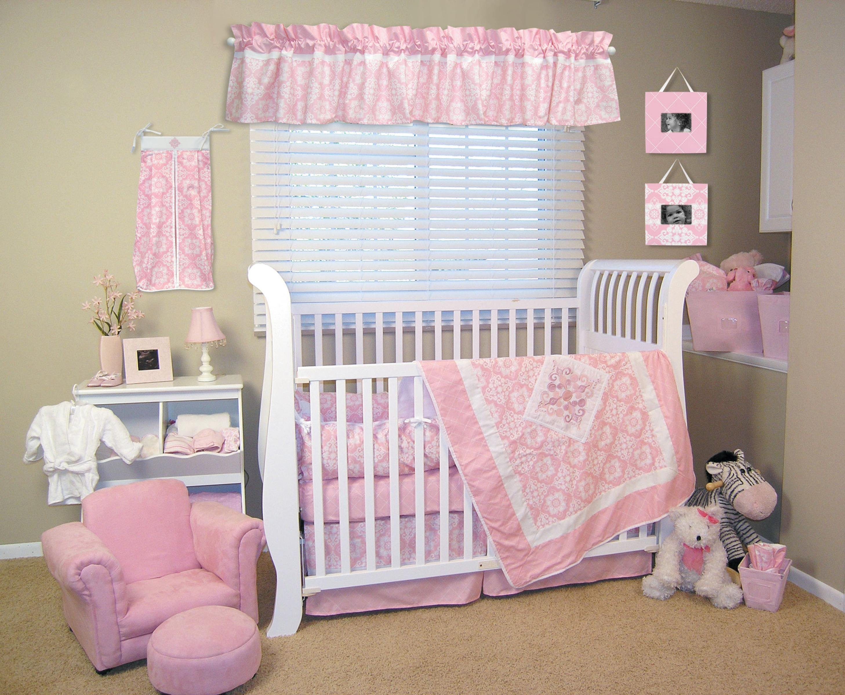 bed bedding nursery baby gray crib chevron and large girl carousel pink designs