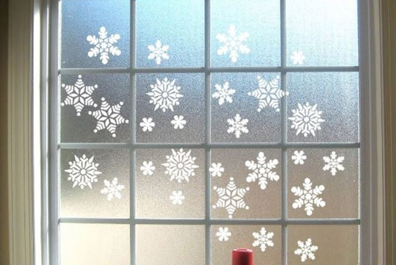 Christmas Xmas Window glass Sticker Decorations Frozen Snowflake With Glitter