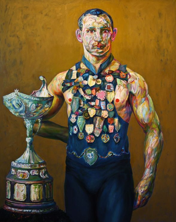 "Aaron Smith ""Left Handed Likely"", 2011, oil on panel, 60"" x 48"""