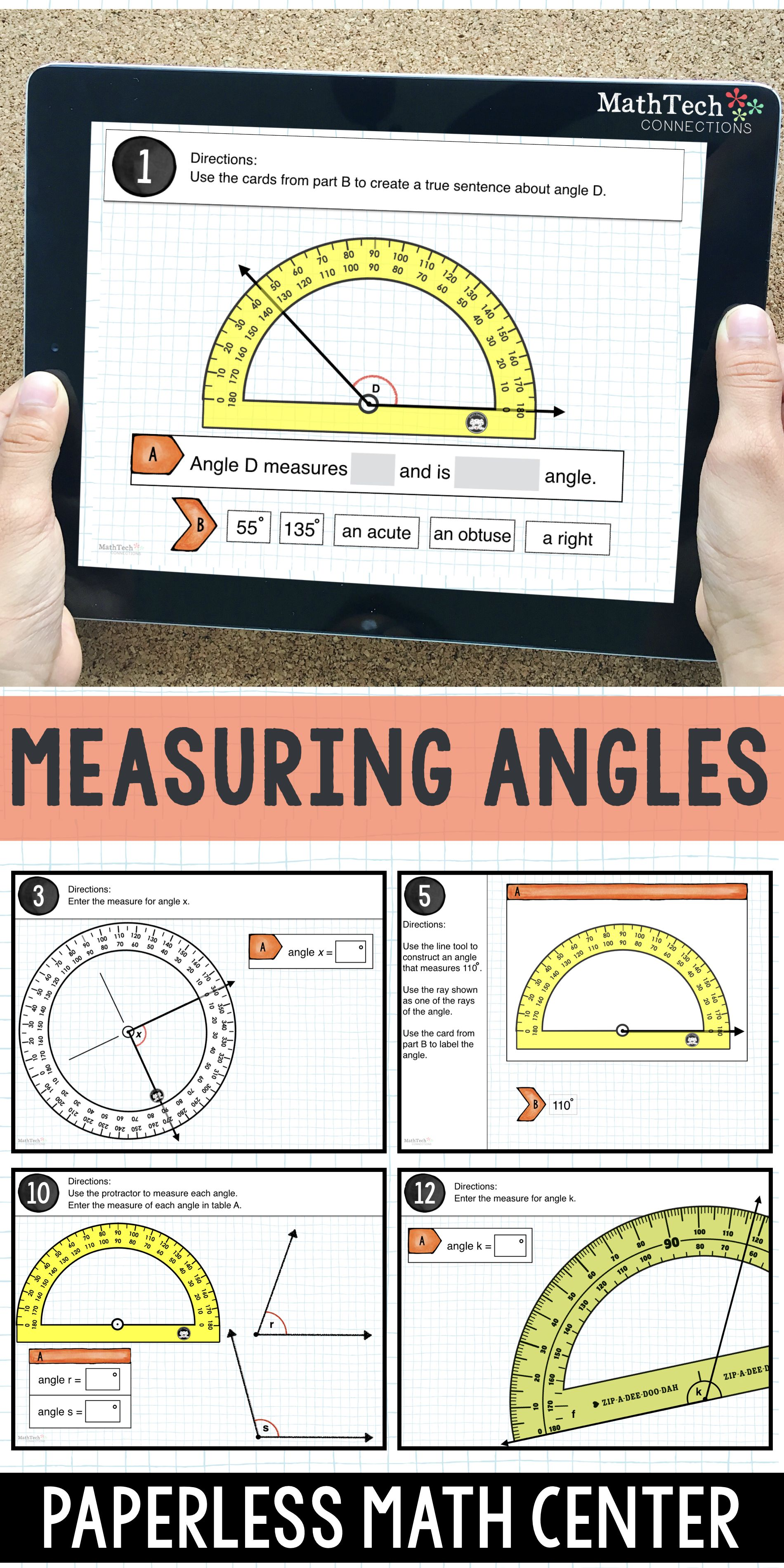 4th Grade Math Distance Learning Measuring Angles