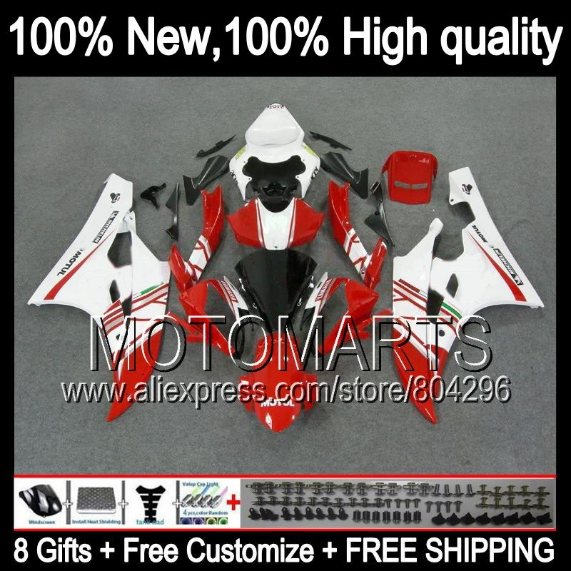 8gift Body For Yamaha Yzfr6 06 07 Yzf 600 Yzf R 6 Yzf600 Red Top1 Q9620 Yzf R6 Yzf R6 06 07 2006 2007 Red White Top1 Fairin Yzfr6 Motorcycle Accessories Motul