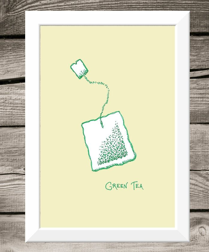 Clearance Sale - Art for Kitchen - 4x6 Green Tea Print - Pen and Ink ...