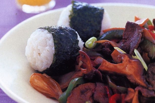 Soy beef with nori rice - http://bitly.com/22DqA1n