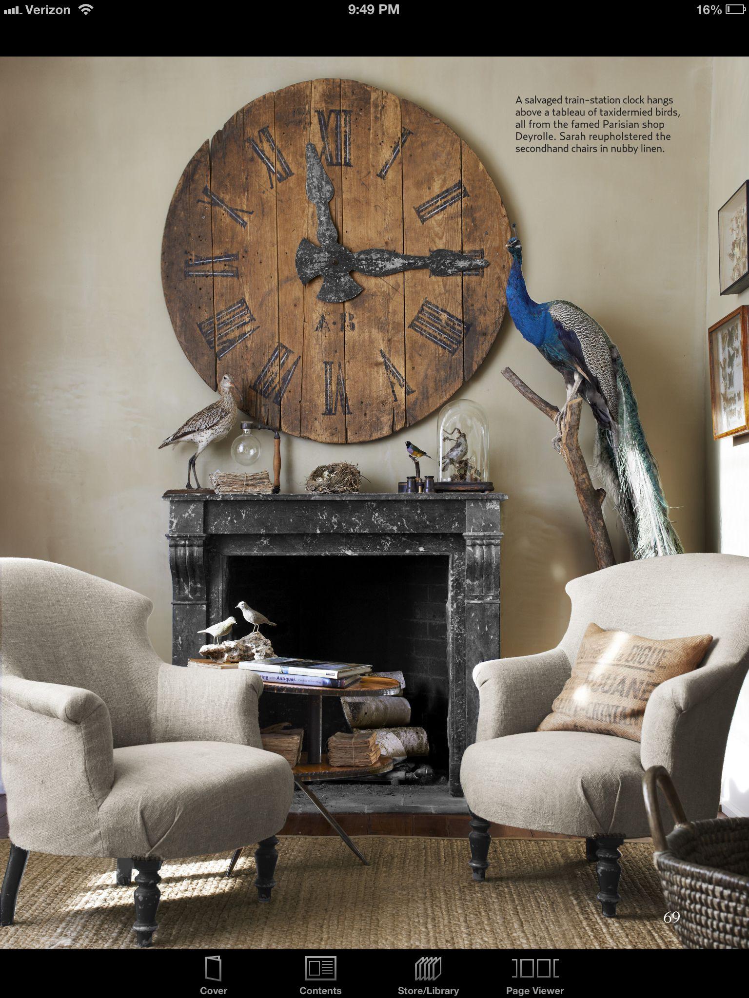 Mantel And Huge Clock Living Room Designs Victorian