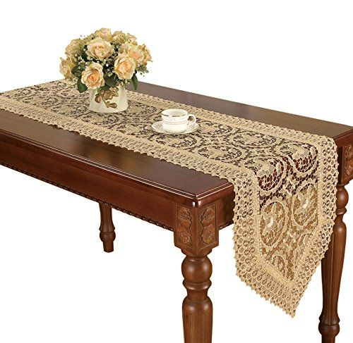 Simhomsen Customized Beige Lace Table Runner And Scarf 16 By 120 Inch Long  Lace Table Runners