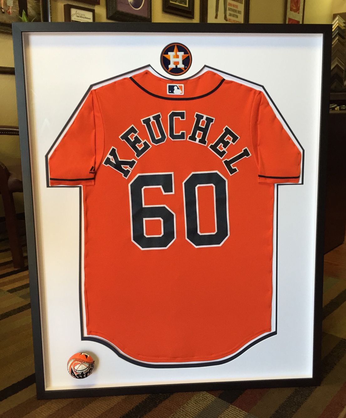 houston astros custom framed jersey | game room ideas | pinterest