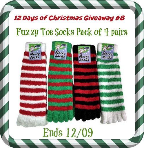 12 days of christmas fuzzy christmas toe socks giveaway
