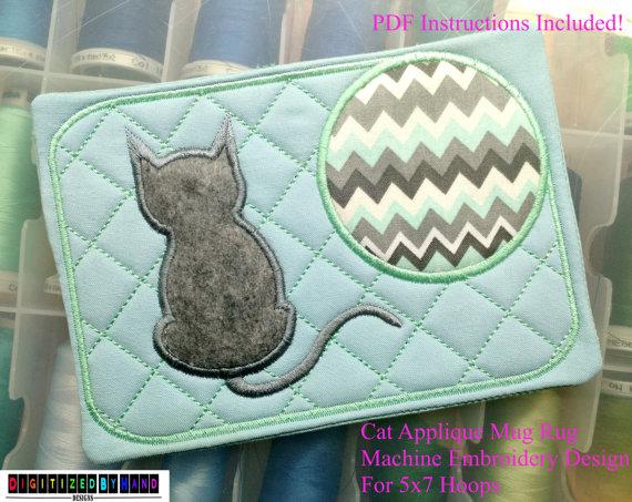ITH Mug Rug Cat Applique Design  Kitten Stickerei-Design In