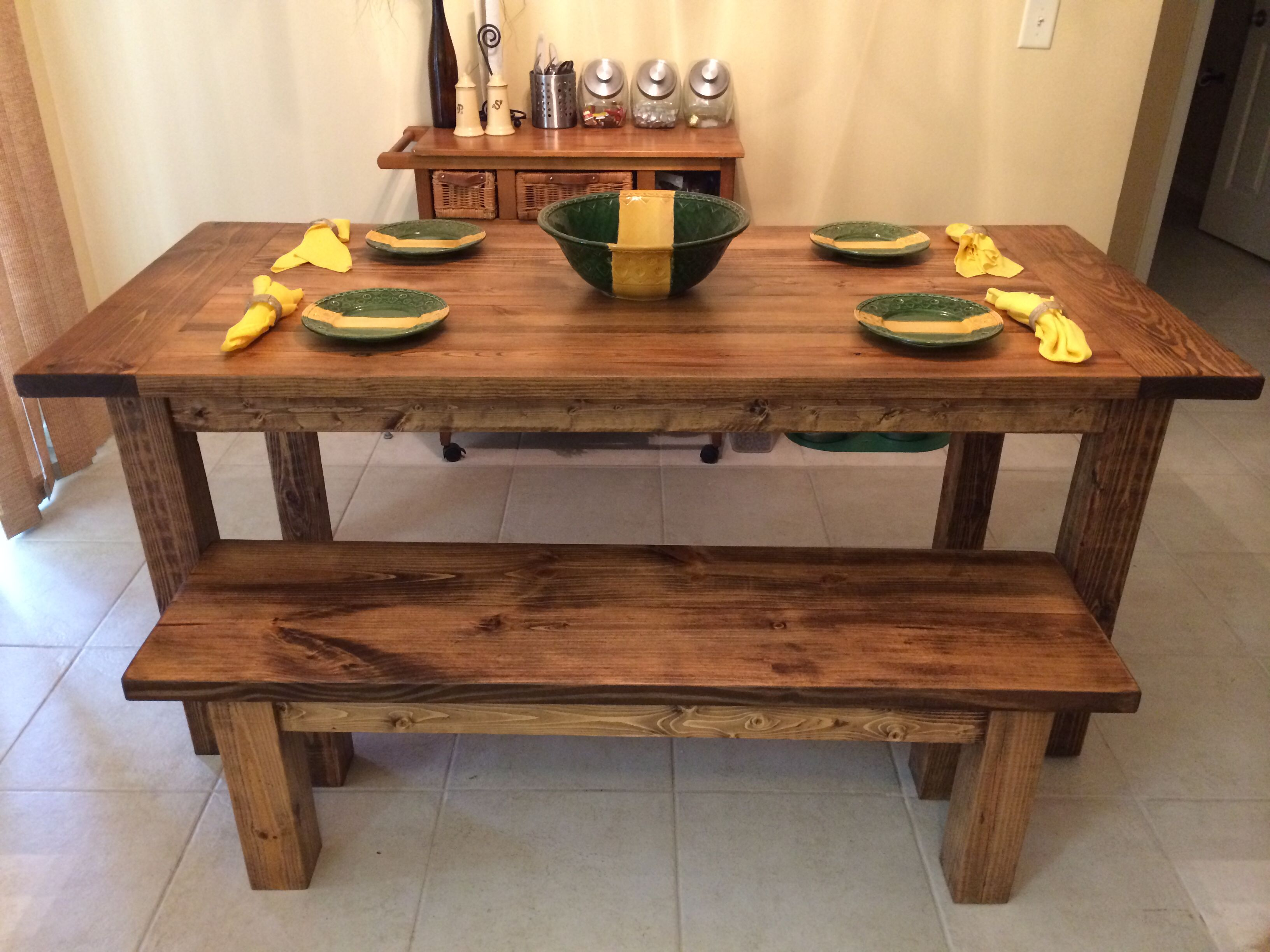 6' farmhouse table with a smooth/jointed table top