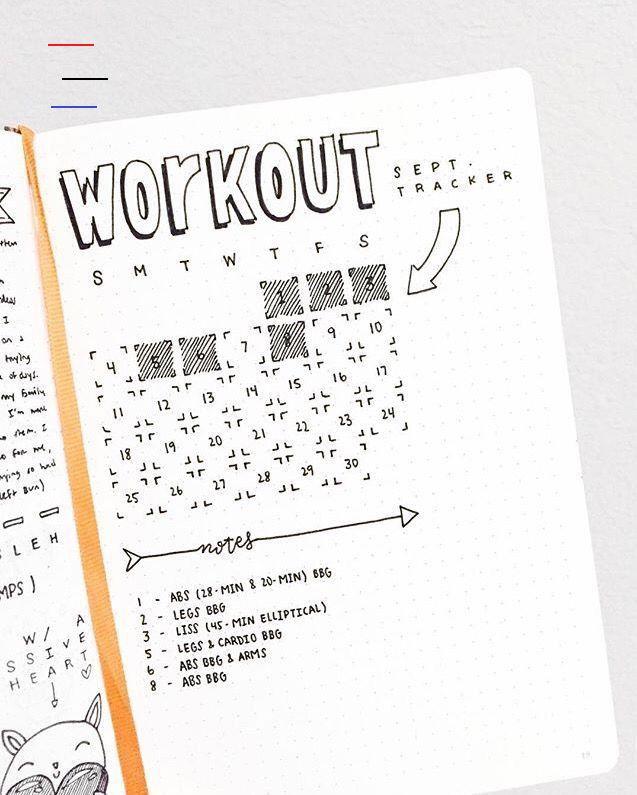 Netter Trainings- / Fitness-Tracker für das Bullet-Journal.  #bullet #fitness #journal #netter #trac...